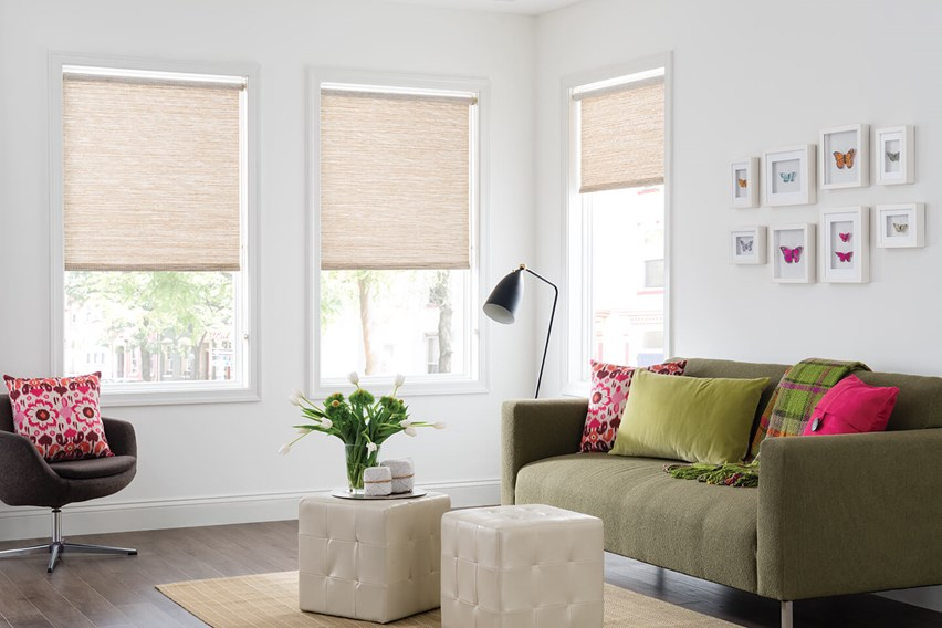 Living room with Bali Value Natural Roller Shades