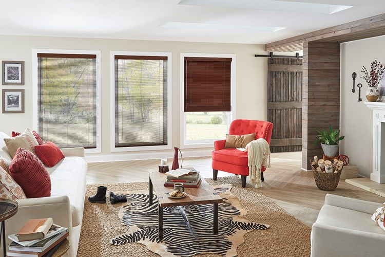"1"" Wood Blinds with Cord Lift/Wand Tilt: Teriyaki 0694 with 3"" Standard Valance"