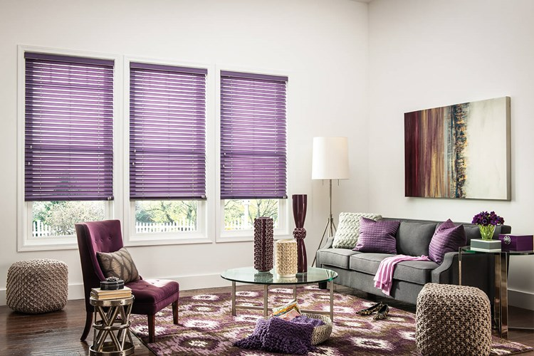 Purple Bali Fabric Blinds offer a pop of color and texture in a living room