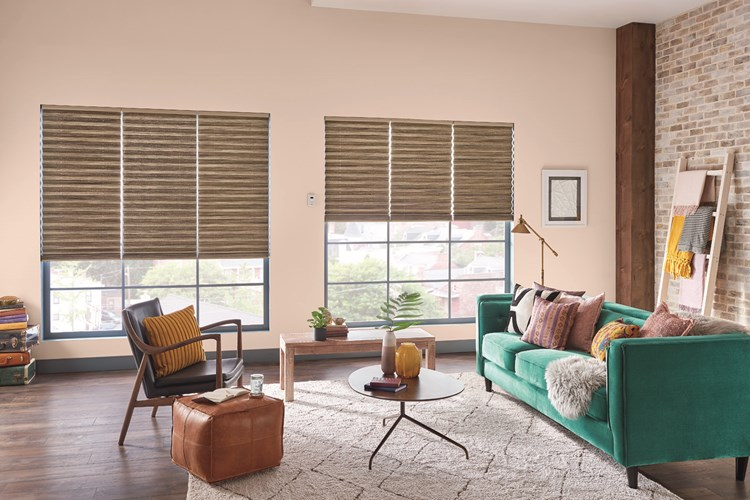 "2"" Pleated Shades with Motorized Lift: Shoreline, Stone 2301 with Privacy Liner 8005"
