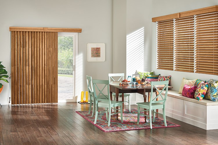 "Wood Vertical Blinds with Cord and Chain Control: Regal Oak 1038 with 41/2"" Eloquence Valance and Keystone"