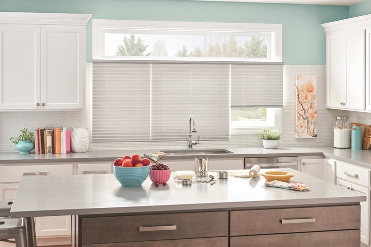 "1"" Pleated Shades with Cordless Lift, Three on One Headrail: Taffeta, Silver Foil 2252 with Privacy Liner 8000"