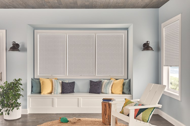 "1"" Pleated Shades with Cordless Lift: Innocence, White Pearl 4162 with Blackout Liner 8001"