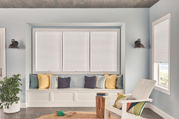 "1"" Pleated Shades with Cordless Lift: Innocence, White Pearl 4162 with Privacy Liner 8000"