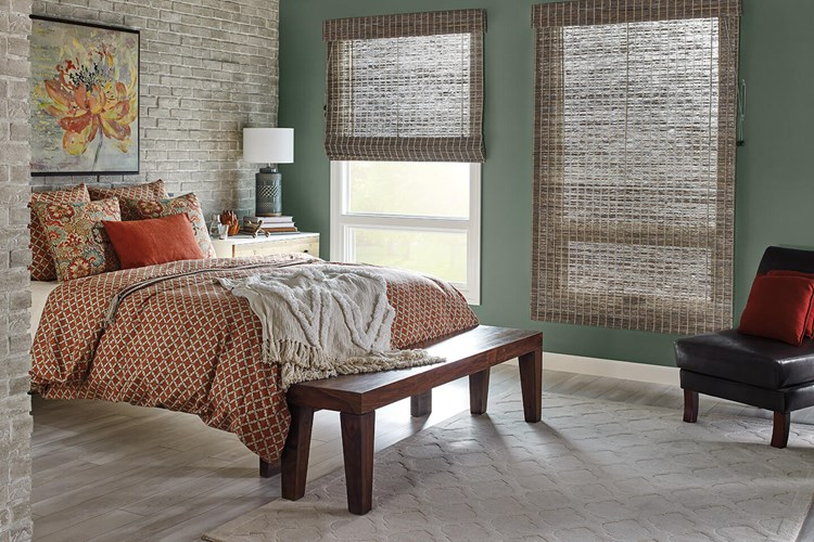 "Standard Roman Natural Shades with Cord Lift: Lagoon, Cadet 85132 and 6"" Standard Valance with Valance-Only Room-Darkening Liner: Cocoa 6297"